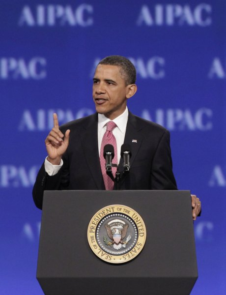 U.S. President Barack Obama delivers remarks at AIPAC Policy Conference at the Washington Convention Center in Washington on May 22, 2011. UPI/Yuri Gripas.