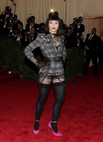 Madonna arrives on the red carpet at the Costume Institute Benefit at the Metropolitan Museum of Art in New York City on May 6, 2013. UPI/John Angelillo