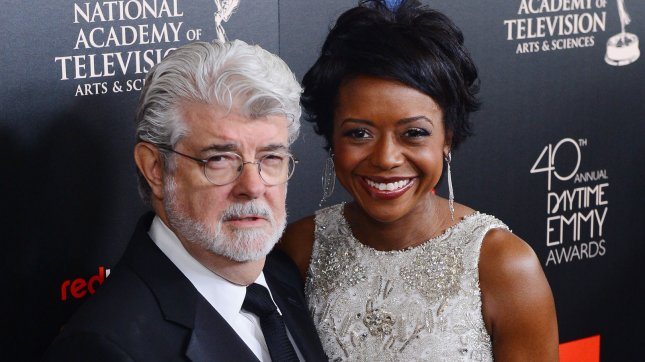 Writer-director-producer George Lucas and Mellody Hobson. UPI/Jim Ruymen.