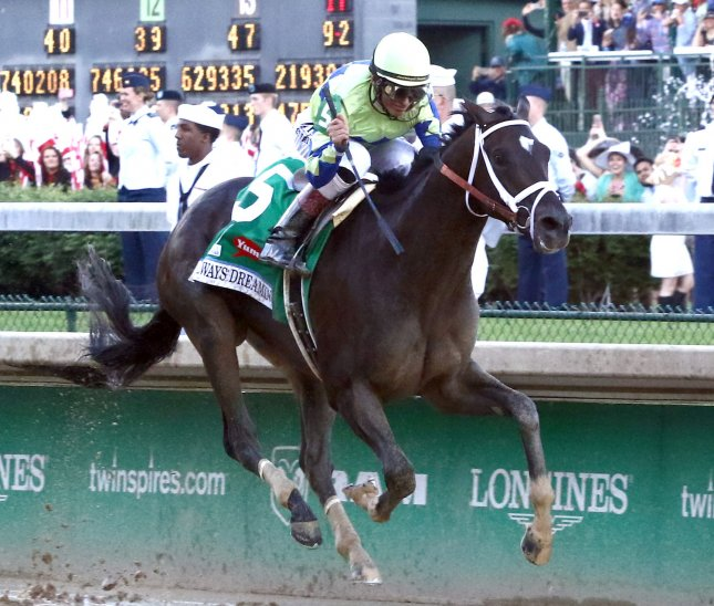 Always Dreaming, John Velasquez up, wins the 143rd running of Kentucky Derby May 6, 2017 at Churchill Downs in Louisville, Kentucky. The horse will arrive at Pimlico for the Preakness Stakes on Tuesday. Photo by Mark Abraham/UPI