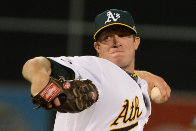 Oakland Athletics P Sean Doolittle was traded to the Washington Nationals Sunday in exchange for several minor league prospects. File photo by Terry Schmitt/UPI