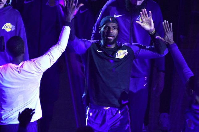 Los Angeles Lakers forward LeBron James is introduced before a game against the Minnesota Timberwolves on November 7, 2018 at Staples Center in Los Angeles. Photo by Jon SooHoo/UPI