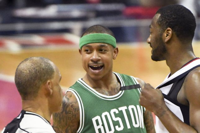 Isaiah Thomas (C) averaged a career-high 28.9 points per game during the 2016-2017 season with the Boston Celtics. He averaged a career-low 8.1 points per game last season with the Denver Nuggets. File Photo by Mark Goldman/UPI