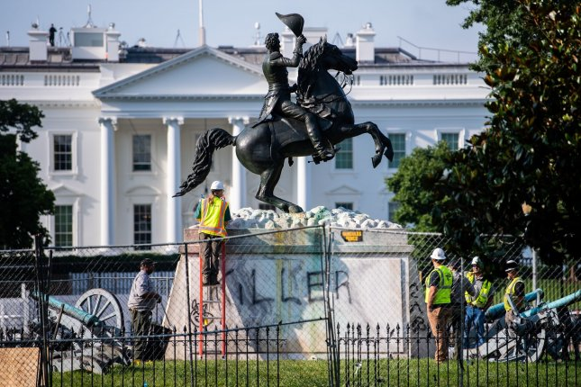 The Andrew Jackson statue is seen vandalized after protesters attempted to tear it down overnight Tuesday in Lafayette Park near the White House. Photo by Kevin Dietsch/UPI