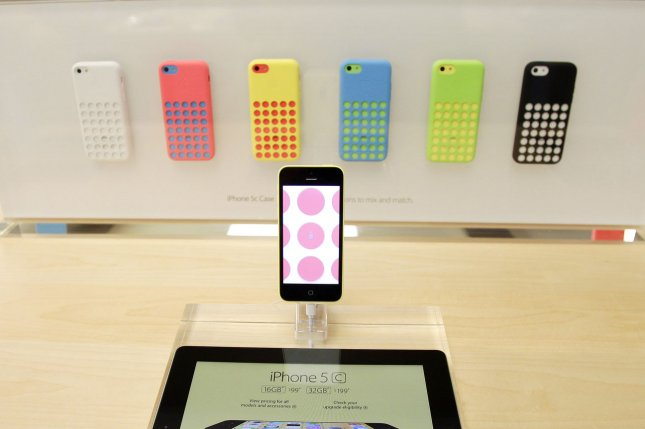 The new Apple iPhone 5C is on display at the Apple Store on 5th Avenue in New York City. UPI/John Angelillo