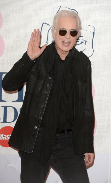 English rocker Jimmy Page attends The Brit Awards 2015 in London in 2015. He was in attendance Tuesday during a copyright trial over whether Led Zeppelin's iconic 'Stairway to Heaven' lifted an intro from the band Spirit. File Photo by Paul Treadway/UPI
