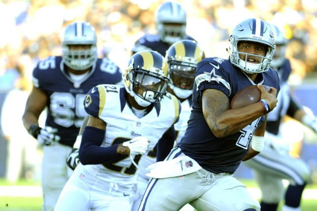 0189939a716 Dallas Cowboys quarterback Dak Prescott runs the ball for a gain against  the Los Angeles Rams in the second quarter of a preseason game at the Los  Angeles ...