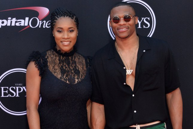 NBA player Russell Westbrook (R) and wife Nina attend the 2017 ESPYS at the Microsoft Theater in Los Angeles. Photo by Jim Ruymen/UPI