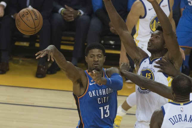 Oklahoma City Thunder forward Paul George (13) had a game-high 36 points, along with 13 rebounds, three assists and three steals in a win against the Milwaukee Bucks on Sunday in Oklahoma City. File Photo by Terry Schmitt/UPI
