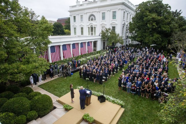 President Donald Trump introduces Amy Coney Barrett as his nominee for the Supreme Court during a ceremony in the Rose Garden of the White House on September 26. Photo by Shawn Thew/UPI