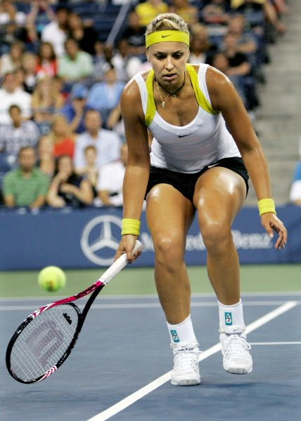 Sabine Lisicki, who was top seed in the Strasbourg International in France, was eliminated in the first round May 21, 2012. (Lisicki is pictured during a match at the U.S. Open Sept. 4, 2011.) UPI/Monika Graff