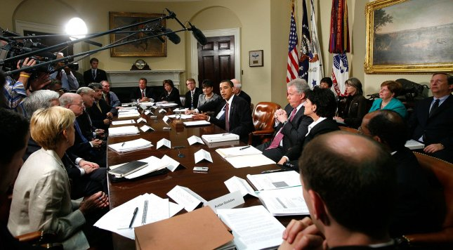 U.S. President Barack Obama speaks during a meeting with members of his Economic Recovery Advisory Board in the Roosevelt Room of the White House on May 20, 2009 in Washington. The meeting was to focused on energy and green jobs. (UPI Photo/Alex Wong/POOL)