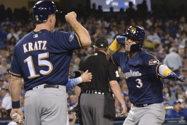 Milwaukee Brewers shortstop Orlando Arcia (3) celebrates his two-run home run against the Los Angeles Dodgers with teammate Erik Kratz during the seventh inning of Game 3 of the 2018 National League Championship Series on Monday at Dodger Stadium in Los Angeles. Photo by Jim Ruymen/UPI