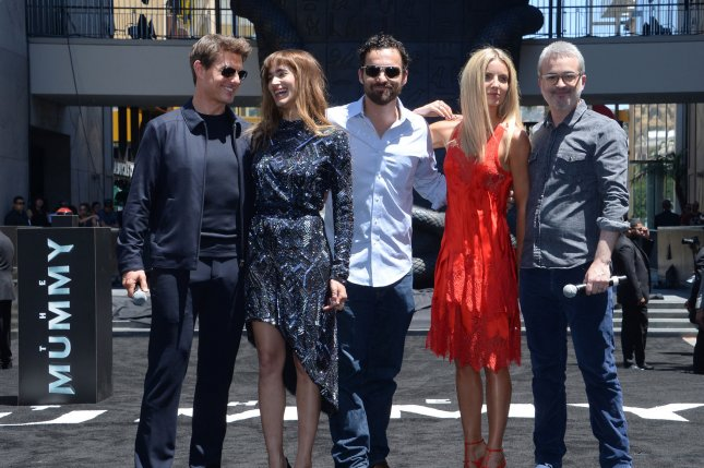 Cast members Tom Cruise, Sofia Boutella, Jake Johnson, Annabelle Wallis and director Alex Kurtzman, left to right, attend The Mummy photo-op as a 75-foot, 7-ton sarcophagus was revealed to the public in Los Angeles on May 20, 2017. Kurtzman is now working on an animated Star Trek series for CBS All Access. File Photo by Jim Ruymen/UPI