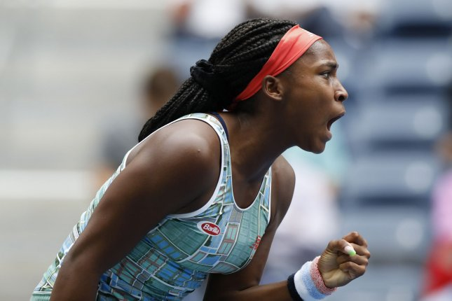 Coco Gauff reacts after winning a point in the first round against Anastasia Potapova of Russia on Tuesday at the 2019 US Open Tennis Championships at the USTA Billie Jean King National Tennis Center. Photo by John Angelillo/UPI