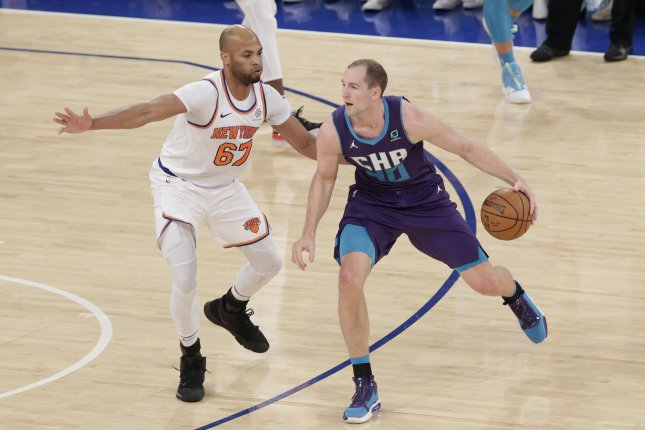 Charlotte Hornets center Cody Zeller (R) suffered the hand injury during Wednesday's game against the Cleveland Cavaliers. File Photo by John Angelillo/UPI