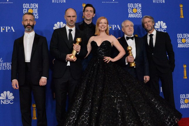 Left to right, Jeremy Strong, Jesse Armstrong, Nicholas Braun, Sarah Snook, Brian Cox, and Alan Ruck of Succession appear backstage during the 77th annual Golden Globe Awards in January 2020. Season 3 of the series will premiere on October 17. File Photo by Jim Ruymen/UPI