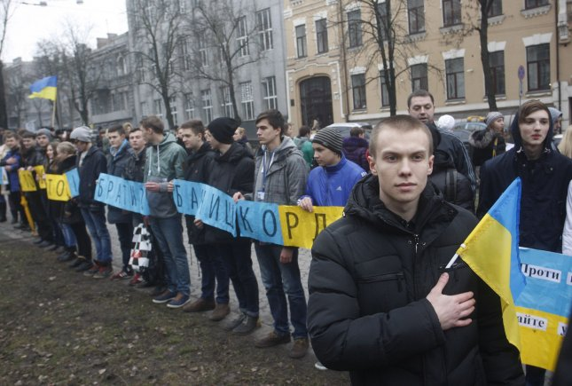 People rally in appreciation for the world reaction to Russia actions in Crimea and in Kiev on March 6, 2014. UPI/Ivan Vakolenko