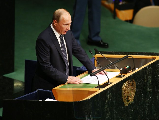 Vladimir Putin, president of Russia, addresses the 70th session of the General Debate of the United Nations General Assembly held Monday at the UN in New York City. Photo by Monika Graff/UPI