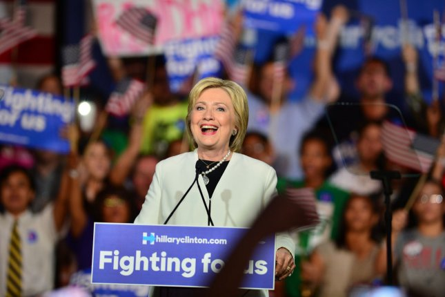 Democratic Presidential candidate Hillary Clinton speaks to supporters on Super Tuesday night at Stage One at Ice Palace Films, Miami. Clinton solidified her lead for the nomination by winning seven of the states holding primaries. Photo by Johnny Louis/UPI