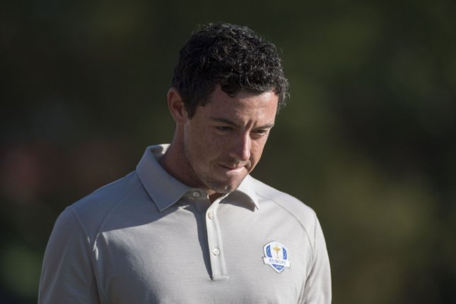 European team members Rory McIlroy walks off the 16th green during day 2 of the 2016 Ryder Cup at Hazeltine National Golf Club in Chaska, Minnesota on October 1, 2016. Photo by Kevin Dietsch/UPI