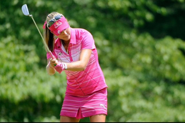 Lexi Thompson reacts as she misses a birdie putt. File photo by David Tulis/UPI