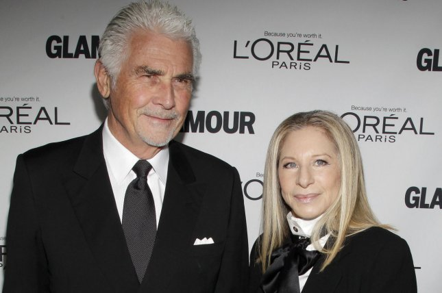 Barbra Streisand (R), pictured with James Brolin, sent a sweet message to the actor on their 20th wedding anniversary. File Photo by John Angelillo/UPI