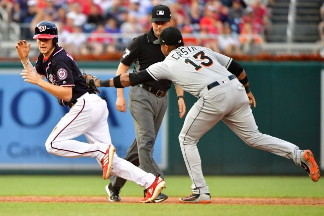 Former Miami Marlins second baseman Starlin Castro (13) had a .270 batting average with 22 home runs and 86 RBIs last season. File Photo by Kevin Dietsch/UPI