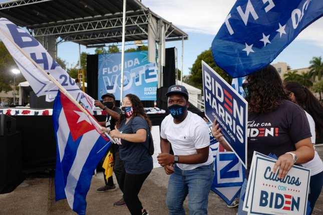 Supporters of Democratic presidential nominee Joe Biden and vice presidential nominee Kamala Harris celebrate on Saturday before a rally at Florida International University in Miami, Fla. Photo by Gary I Rothstein/UPI