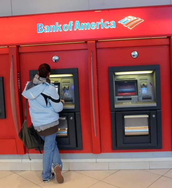 A client uses a Bank of America ATM machine in New York on February 24, 2009. (UPI Photo/Ezio Petersen)