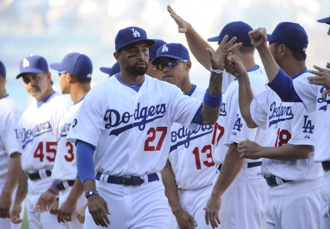 The Los Angeles Dodgers Matt Kemp is introduced before play against the San Francisco Giants on opening day at Dodger Stadium in Los Angeles on March 31, 2011. UPI/Phil McCarten