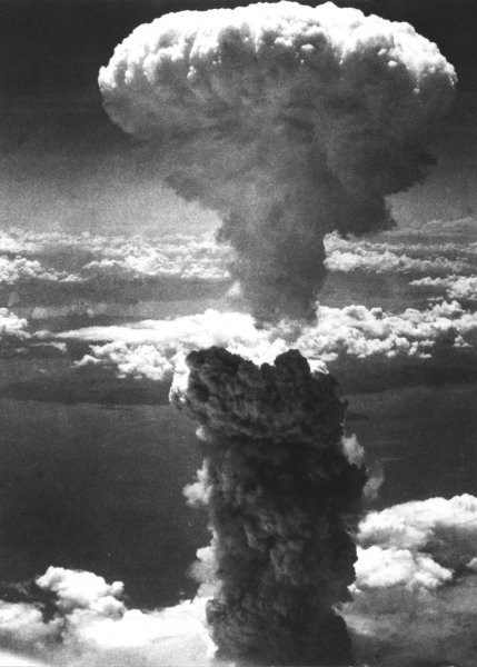 A massive mushroom cloud from an atomic bomb rises over Nagasaki, Japan, Aug. 9, 1945. (UPI Photo/USAF/Files)