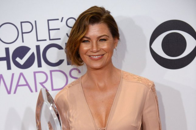 Ellen Pompeo with her award at the People's Choice Awards on Jan. 7. The actress stars in a 'Grey's Anatomy' season 12 trailer. File photo by Jim Ruymen/UPI