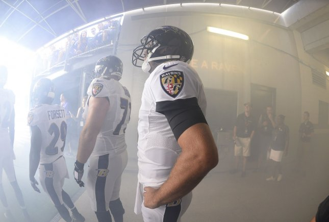 Baltimore Ravens quarterback Joe Flacco takes the field for a preseason game against the Detroit Lions on Aug. 27. Photo by David Tulis/UPI