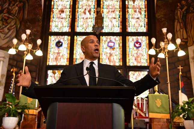 Democratic presidential hopeful Sen. Cory Booker delivers an address on race at the Mother Emanuel AME Church on Wednesday in Charleston, S.C. Photo by Richard Ellis/UPI