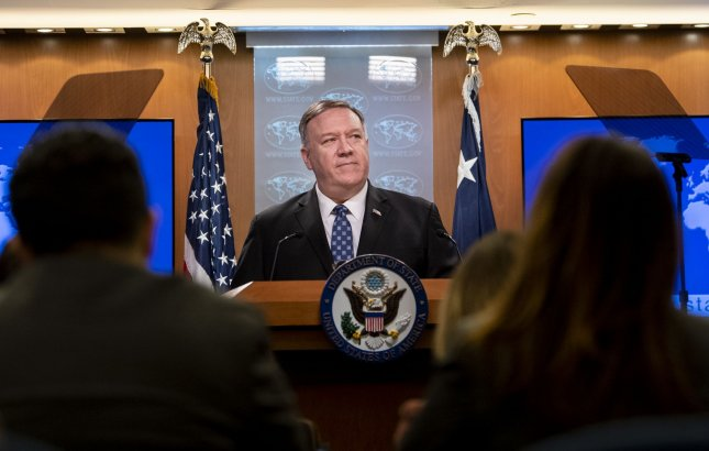 Secretary of State Mike Pompeo holds a news conference at the U.S. State Department on Tuesday. Photo by Kevin Dietsch/UPI
