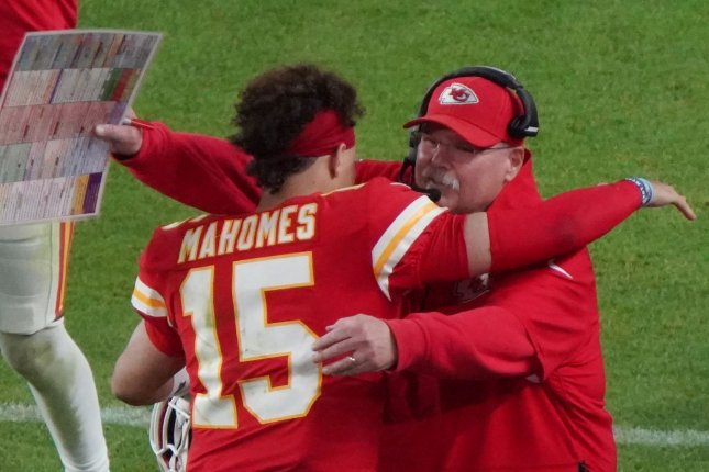 Kansas City Chiefs quarterback Patrick Mahomes is under contract though the 2031 season, when coach Andy Reid (R) will be 73 years old. File Photo by Jon SooHoo/UPI