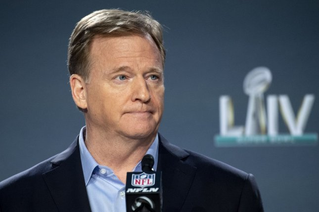 NFL Commissioner Roger Goodell said teams now lose picks in the NFL Draft if they violate the league's COVID-19 protocol. File Photo by Kevin Dietsch/UPI