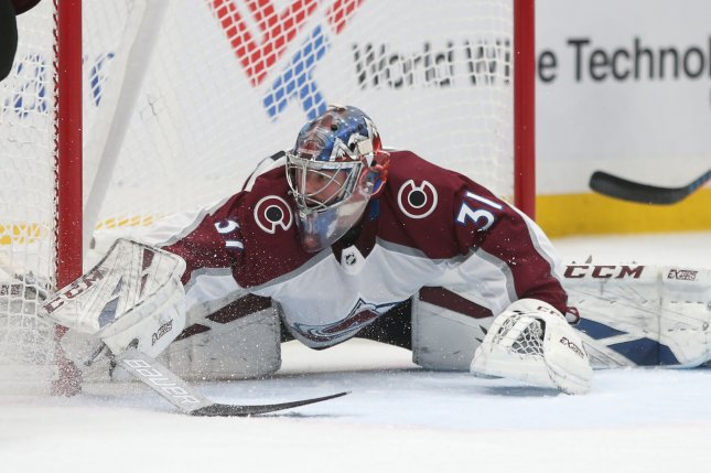 Former Colorado Avalanche goaltender Philipp Grubauer, shown Dec. 14, 2018, opted to sign with the Seattle Kraken after failing to reach an agreement with the Avs. File Photo by Bill Greenblatt/UPI