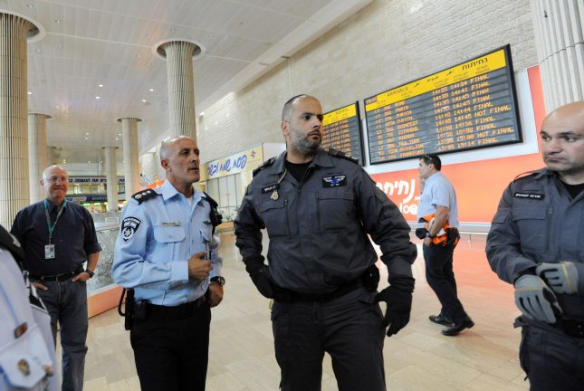 Israeli police at Ben Gurion Airport near Tel Aviv in 2012. On July 22, 2014, the FAA announced a ban on U.S. carriers from flying to and from Ben Gurion for 24 hours amid security concerns. (UPI/Debbie Hill)