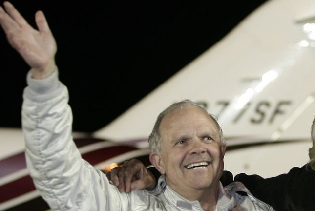American adventurer Steve Fossett, who vanished on a short flight over Nevada Sept. 5, 2007, is pictured at Manston Airport in Kent, England, Feb. 11, 2006, after making the longest non-stop flight in history -- 26,389 miles. (UPI Photo/Hugo Philpott)
