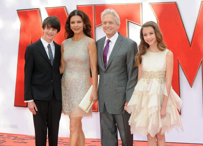 Michael Douglas with wife Catherine Zeta-Jones, son Dylan and daughter Carys at the London premiere of Ant-Man on July 8. The actors celebrated their 15th wedding anniversary Wednesday. File Photo by Paul Treadway/UPI