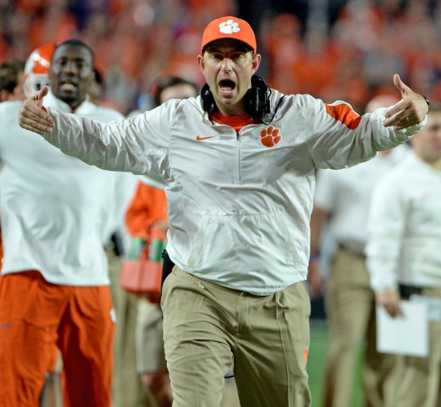 Clemson Tigers head coach Dabo Swinney always says the team's next game is its biggest one. This time it really is. Photo by Art Foxall/UPI