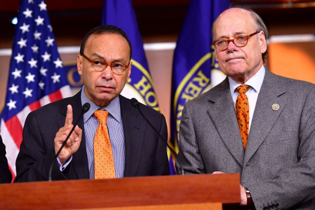 House Democrats Luis Gutierrez of Illinois (L) and Steve Cohen of Tennessee appear Wednesday at a news conference introducing articles of impeachment against President Donald Trump. Photo by Kevin Dietsch/UPI