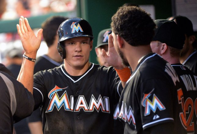 Derek Dietrich and the Miami Marlins face the San Diego Padres on Friday. Photo by Kevin Dietsch/UPI
