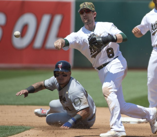 Jed Lowrie and the Oakland A's face the Los Angeles Angels on Friday. Photo by Terry Schmitt/UPI
