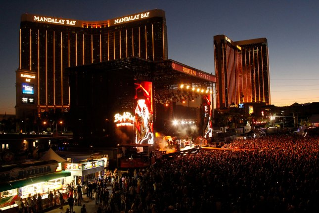 A view of the main stage at the Route 91 Harvest country music festival during a performance by 'Big & Rich' a few hours before the Oct. 1, 2017, mass shooting that killed 58 people injured 800. File photo by James Atoa/UPI