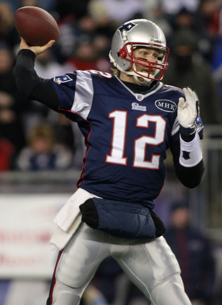 New England Patriots quarterback Tom Brady throws a pass in the first quarter against the Denver Broncos in the AFC divisional playoff game at Gillette Stadium in Foxboro, Massachusetts on January 14, 2012. UPI/Matthew Healey