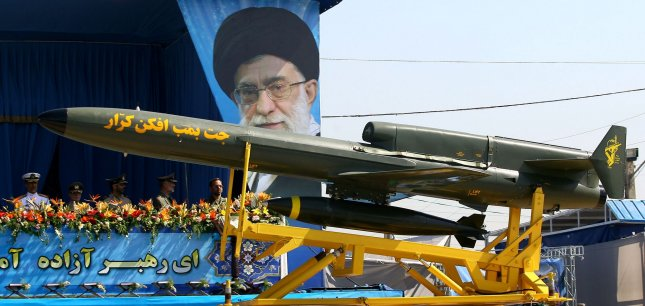 Iranian made long range drone Karar missile is displayed during annual military parade on September 22,2010 in Tehran,Iran that mark the beginning of the 1980-1988 war between Iran and Iraq. UPI/Maryam Rahmanian
