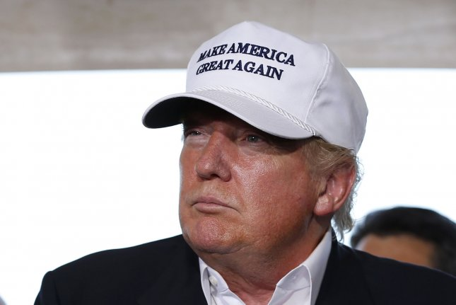 """Republican presidential hopeful Donald Trump speaks on immigration at the U.S.-Mexico border in Laredo, Texas on July 23, 2015. Trump had said South Korea like Saudi Arabia benefits from U.S. taxpayers while giving """"nothing"""" back. Photo by Aaron M. Sprecher/UPI"""